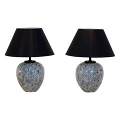 Pair of Graphical Ceramic Table Lamps for H. Pander, Holland, 1970s