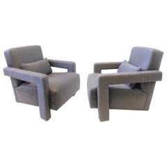 Pair of Gray Fabric Lounge Chairs by Gerrit Thomas Rietveld
