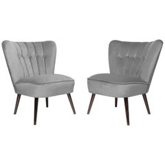 Pair of Gray German Midcentury Velvet Club Armchairs, 1960s