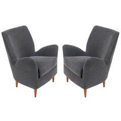 Pair of Gray Italian Midcentury Style Lounge Chairs