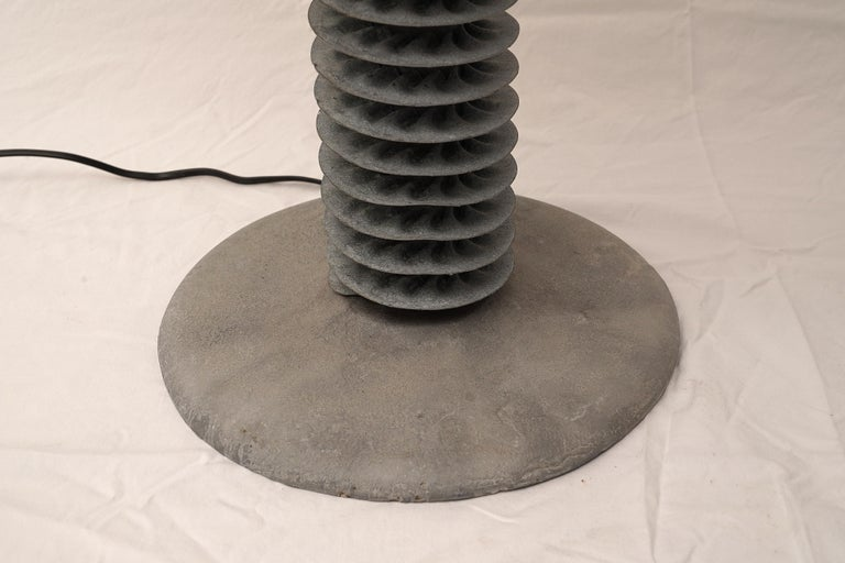 Pair of Gray Metal and Cast Stone Table Lamps, American In Good Condition For Sale In Nantucket, MA