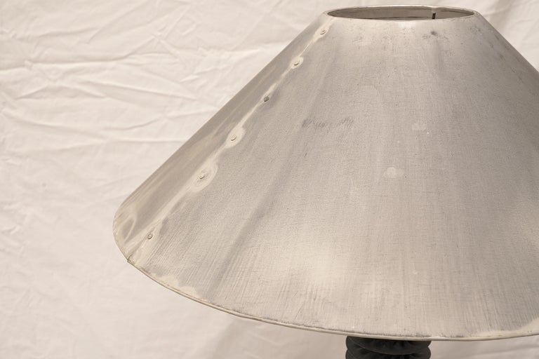Contemporary Pair of Gray Metal and Cast Stone Table Lamps, American For Sale