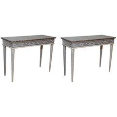 Pair of Gray Painted Consoles with Silver Highlights/Louis XVI Style