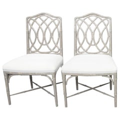 Pair of Gray Painted Faux Bamboo Side Chairs
