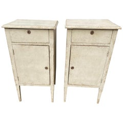 Pair Of Gray Painted Late 19th Century Swedish Gustavian Nightstands