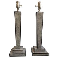 Pair Of Gray Shagreen and Ebony Inlay Table Lamps