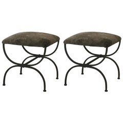 Pair of Gray Shearling 'Strapontin' Stools by Design Frères