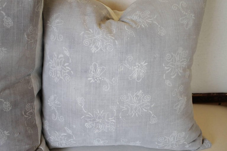 Pair of gray vintage Batik style Accent pillows; this pillow cover is sewn from a piece of a vintage, gray, Chinese batik textile.   Pillow cover size: 19 x 19 approximate finished size. Please note the insert is not included in purchase.