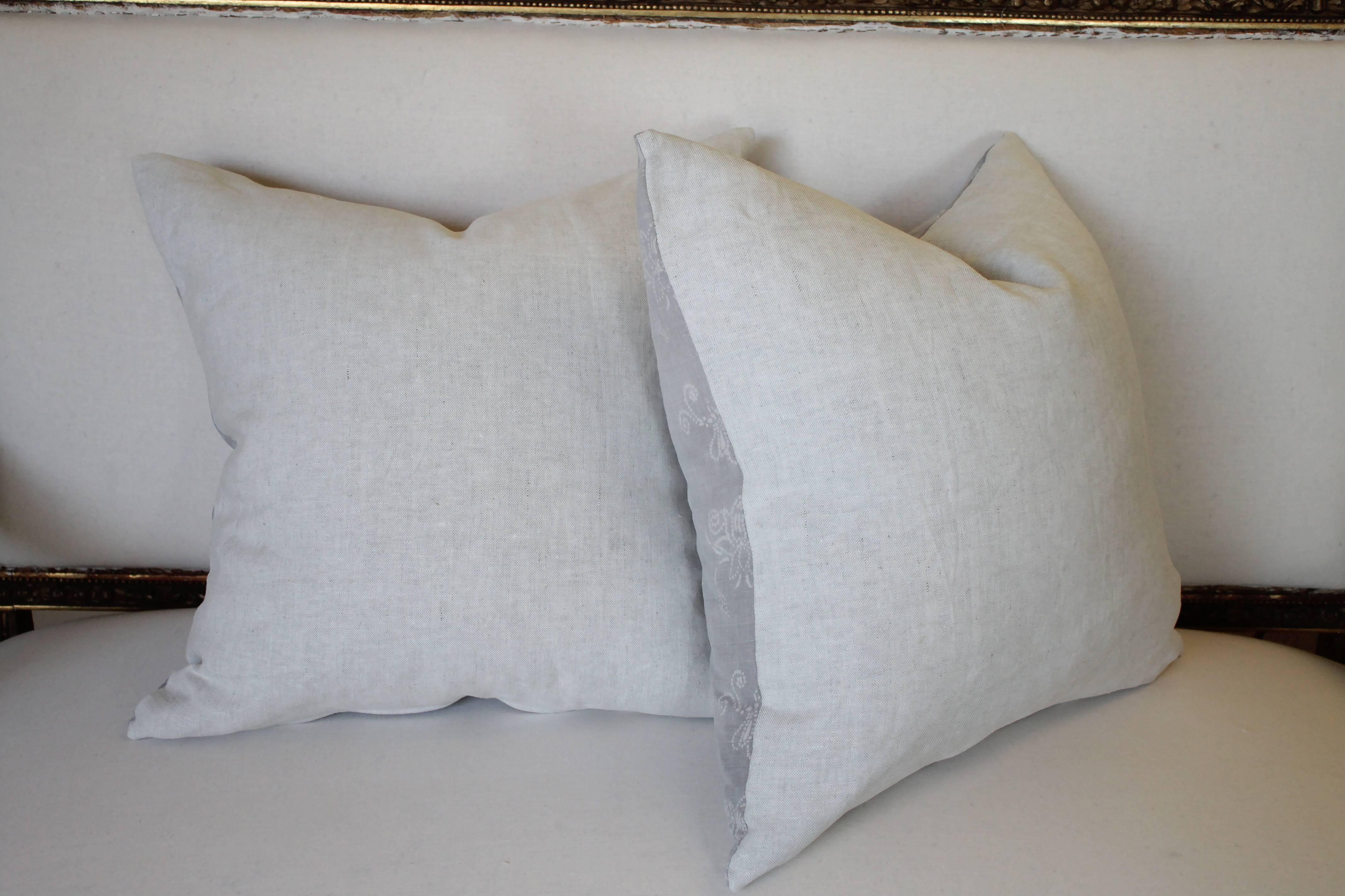 Gray Vintage Batik Accent Pillows