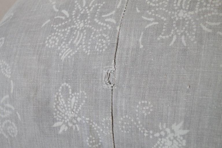 Cotton Pair of Gray Vintage Batik Accent Pillows For Sale