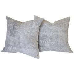 Gray Vintage Batik Style Accent Pillow