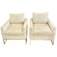 Pair of Gray/White Upholstered Lounge Chairs