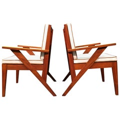 Pair of Great Armchairs in the Style of Pierre Jeanneret, 1950s, Brown, Wood