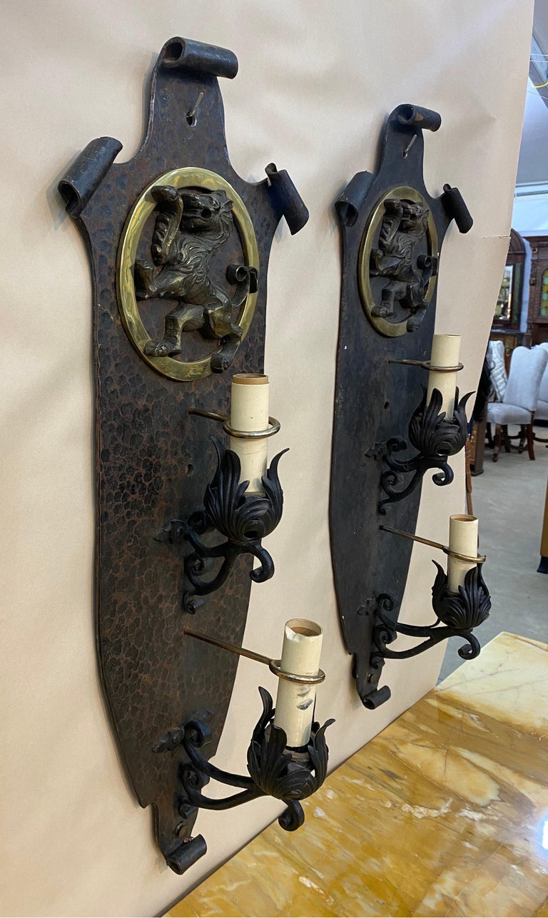 20th Century Pair of Great Quality Hand Hammered Bronze and Iron Sconces, Oscar Bach style For Sale