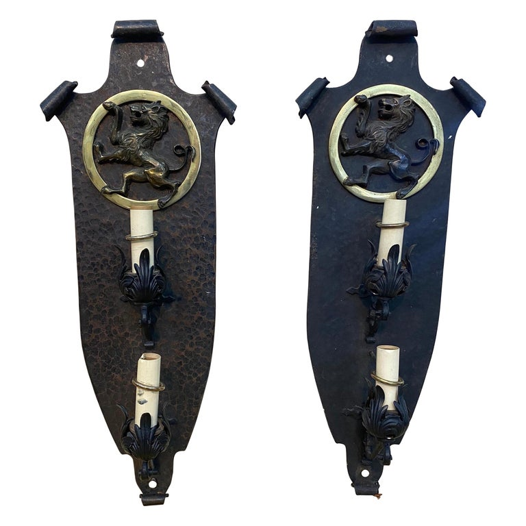 Pair of Great Quality Hand Hammered Bronze and Iron Sconces, Oscar Bach style For Sale