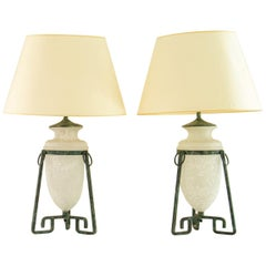 Pair of Grecian Style Bronze Patinated Lamps, 1960s