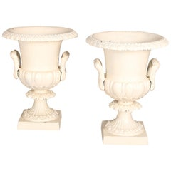 Pair of Grecian Style White Painted Double Handle Garden Urns, 20th C