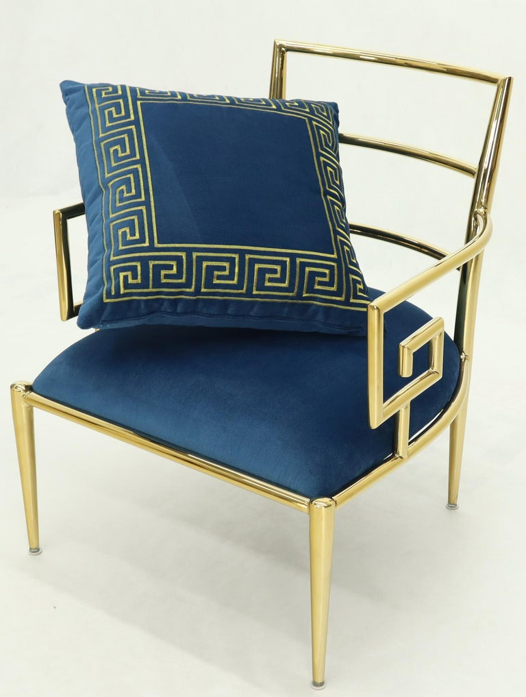 Pair of Greek Key Brass and Blue Velvet Lounge Chairs For Sale 4