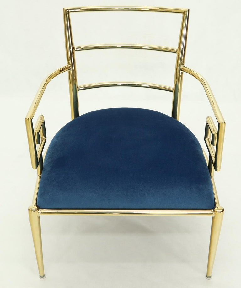 Pair of Greek Key Brass and Blue Velvet Lounge Chairs For Sale 5