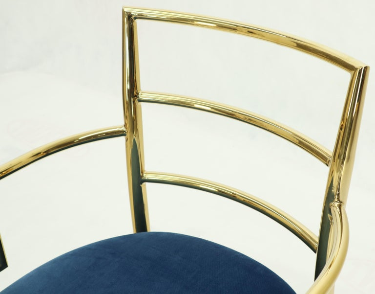Pair of Greek Key Brass and Blue Velvet Lounge Chairs For Sale 6