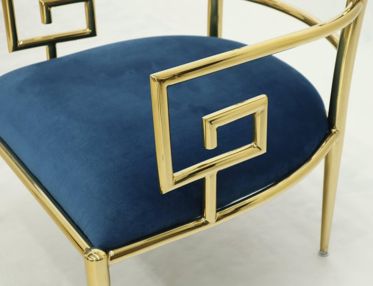 Pair of Greek Key Brass and Blue Velvet Lounge Chairs For Sale 8