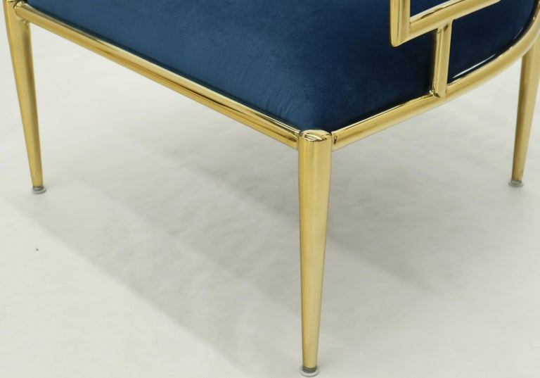 Pair of Greek Key Brass and Blue Velvet Lounge Chairs For Sale 9