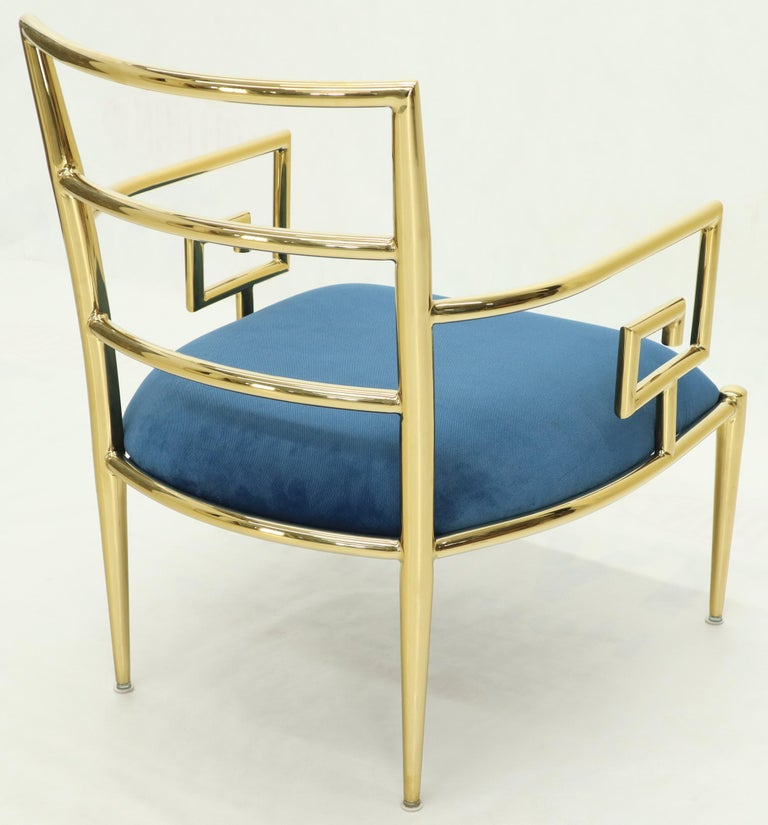 Pair of Greek Key Brass and Blue Velvet Lounge Chairs For Sale 10