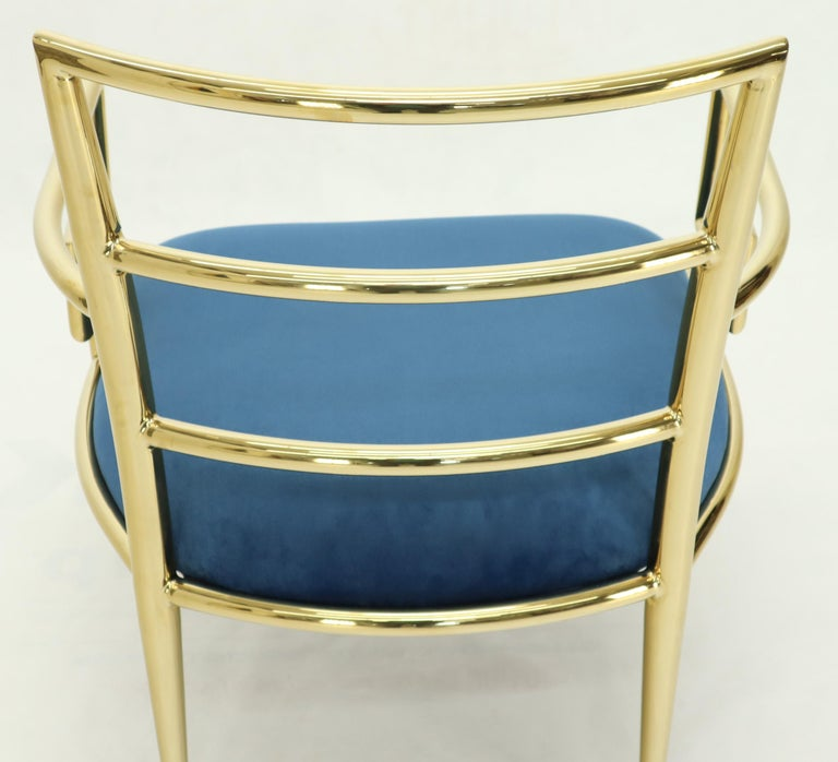 Pair of Greek Key Brass and Blue Velvet Lounge Chairs For Sale 11