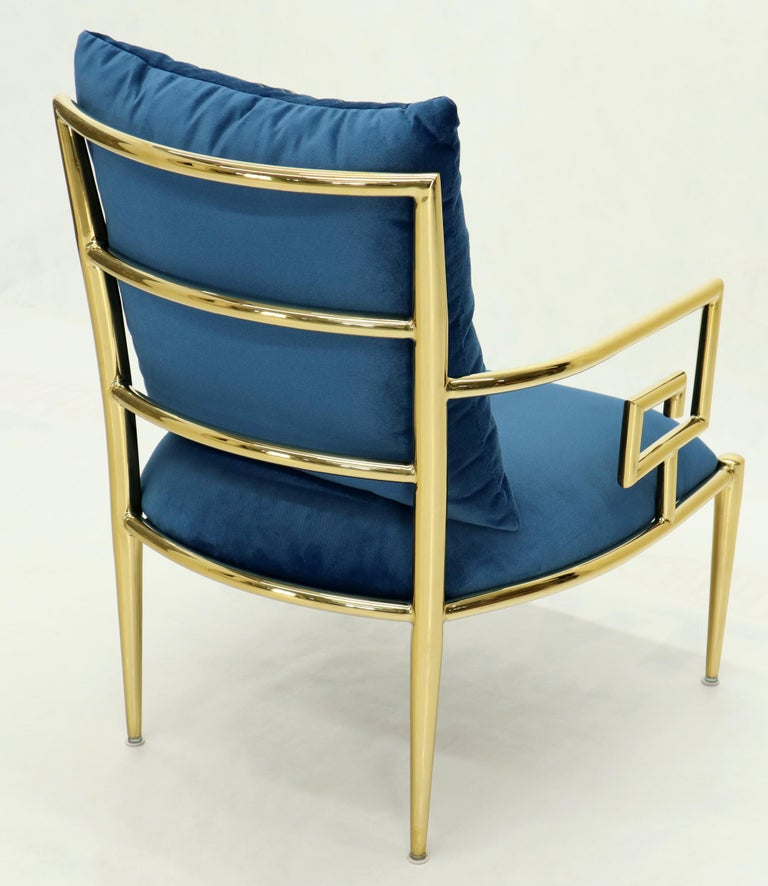 Pair of Greek Key Brass and Blue Velvet Lounge Chairs For Sale 12
