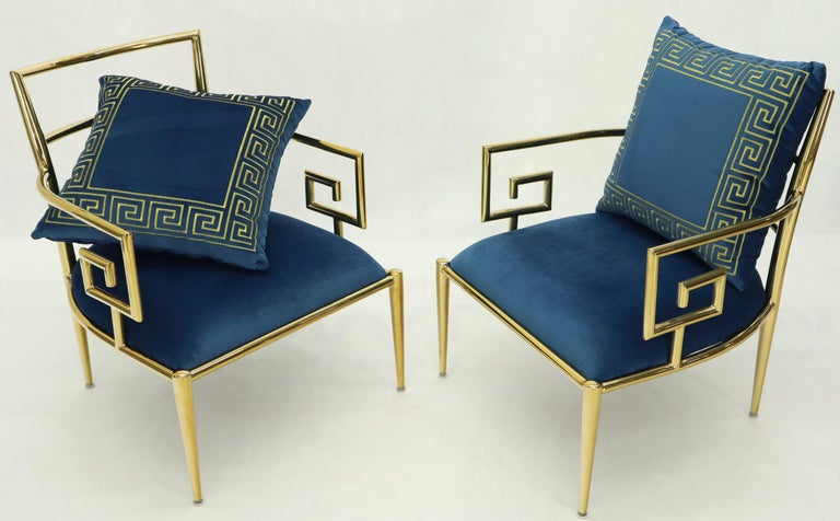 Pair of Mid-Century Modern style brass and velvet upholstery lounge chairs. Gibbing's style.