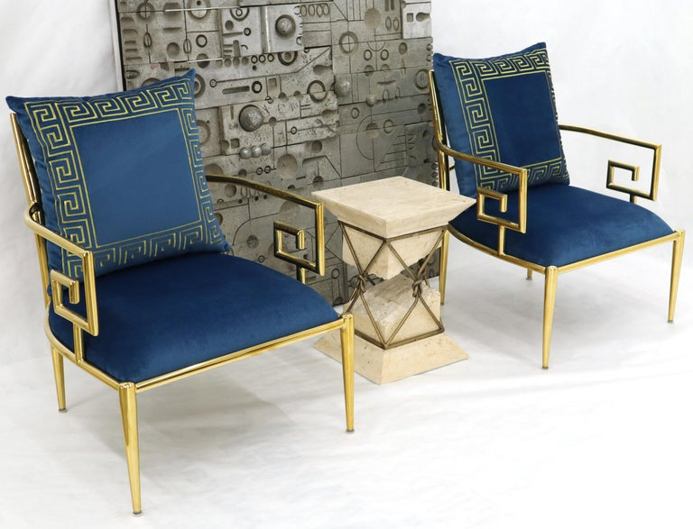 Mid-Century Modern Pair of Greek Key Brass and Blue Velvet Lounge Chairs For Sale
