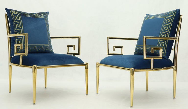 Unknown Pair of Greek Key Brass and Blue Velvet Lounge Chairs For Sale