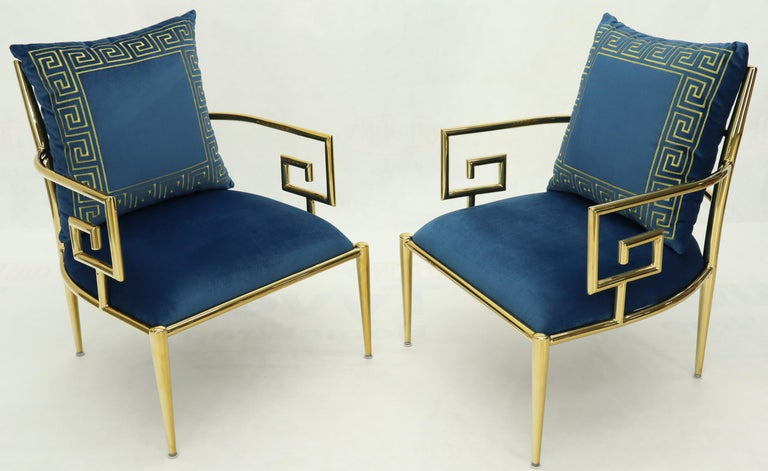 Pair of Greek Key Brass and Blue Velvet Lounge Chairs In Excellent Condition For Sale In Rockaway, NJ
