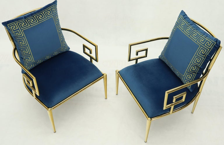 Contemporary Pair of Greek Key Brass and Blue Velvet Lounge Chairs For Sale