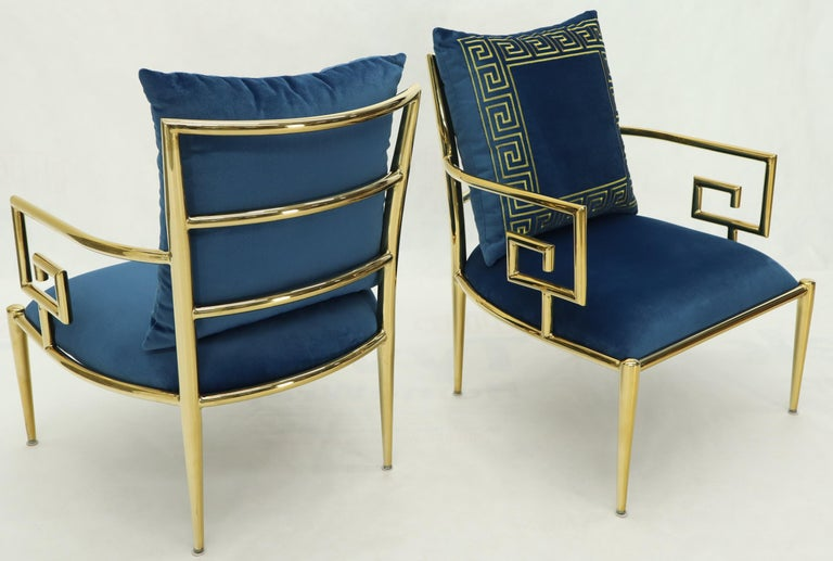 Pair of Greek Key Brass and Blue Velvet Lounge Chairs For Sale 1