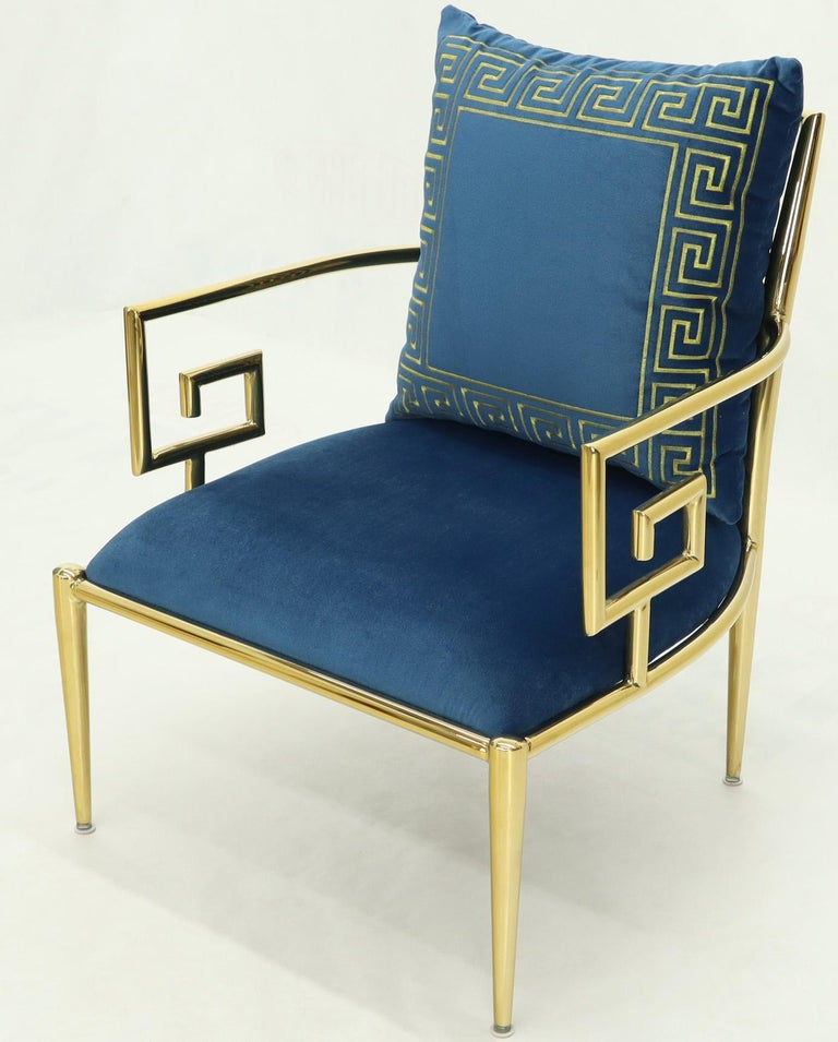 Pair of Greek Key Brass and Blue Velvet Lounge Chairs For Sale 2