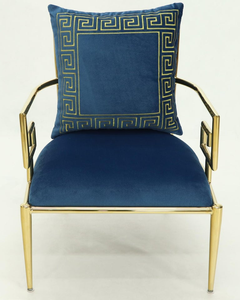 Pair of Greek Key Brass and Blue Velvet Lounge Chairs For Sale 3