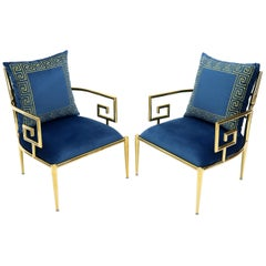 Pair of Greek Key Brass and Blue Velvet Lounge Chairs