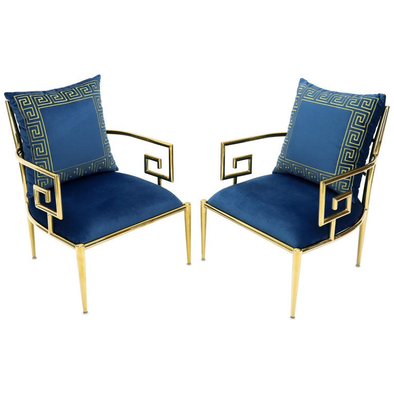 Pair of Greek Key Brass and Blue Velvet Lounge Chairs For Sale