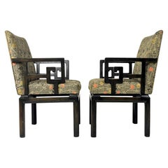 Pair of Greek Key Far East for Baker Chinoiserie Armchairs by Michael Taylor