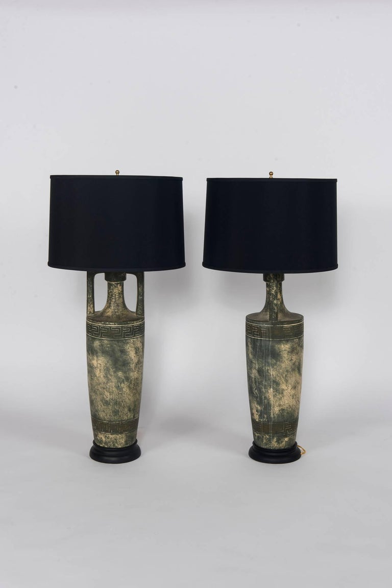 Classical Greek Pair of Greek Key Lamps with Black Shades For Sale