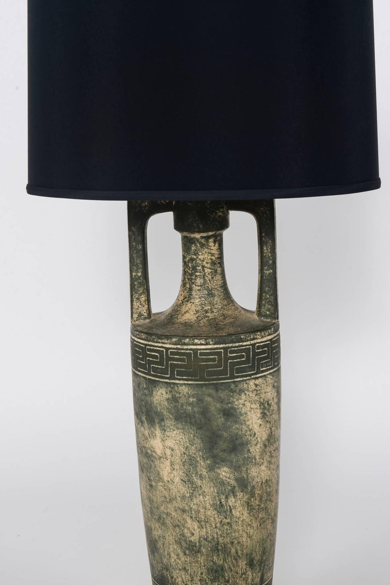 Pair of Greek Key Lamps with Black Shades In Good Condition For Sale In Houston, TX