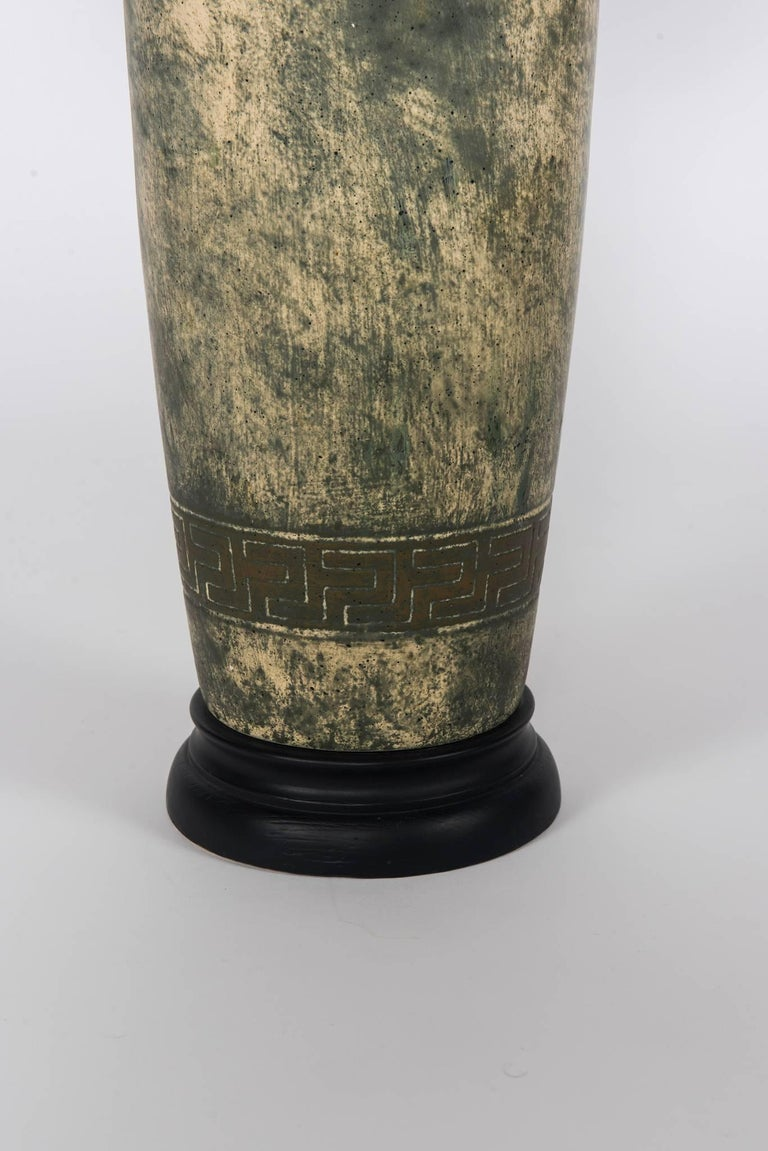 Stoneware Pair of Greek Key Lamps with Black Shades For Sale