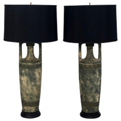 Pair of Greek Key Lamps with Black Shades