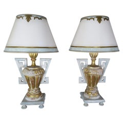 Pair of Greek Key Painted Lamps with Parchment Shades