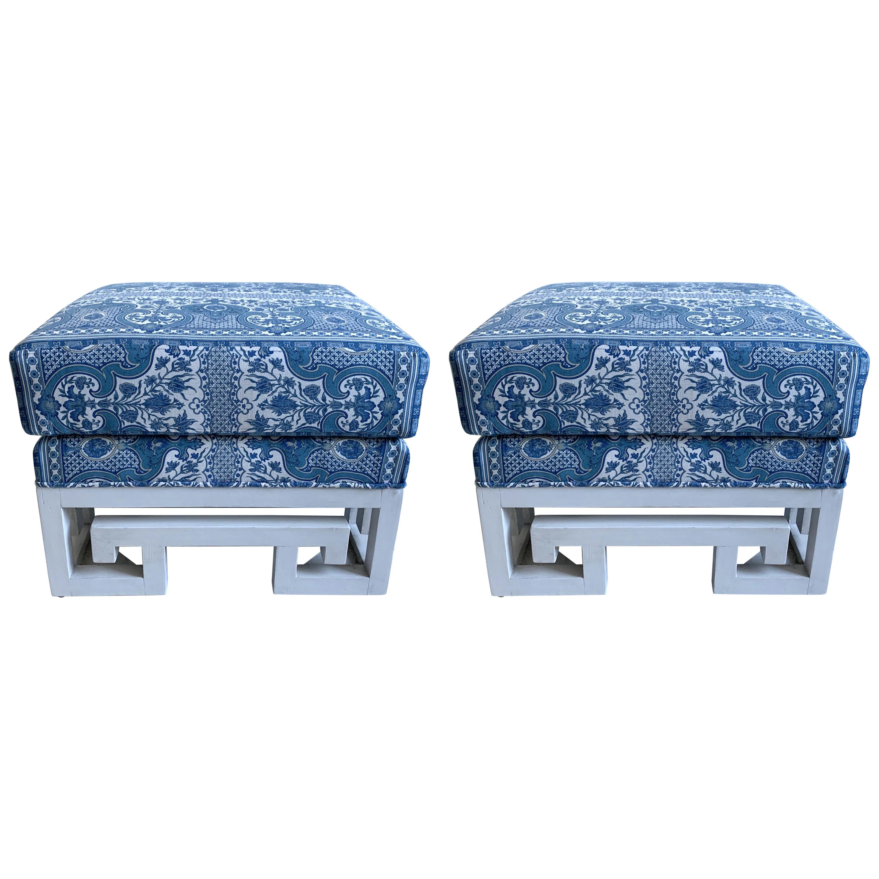 Pair of Greek Key White Painted Ottomans or Stools