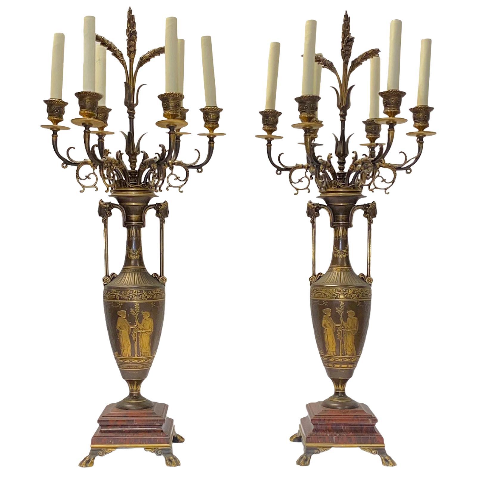 Pair of Greek revival F. Barbediene Bronze Candelabras