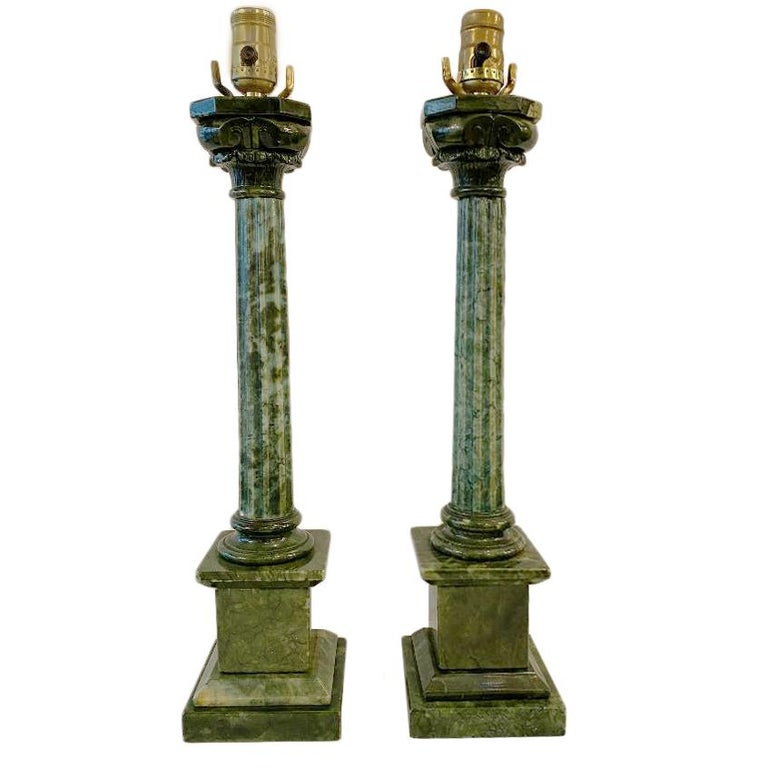 Pair of circa 1920s Italian column-shaped carved green alabaster table lamps.  Measurements: Height of body 19