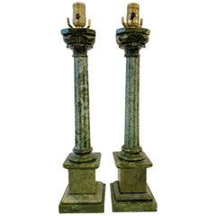 Pair of Green Alabaster Table Lamps