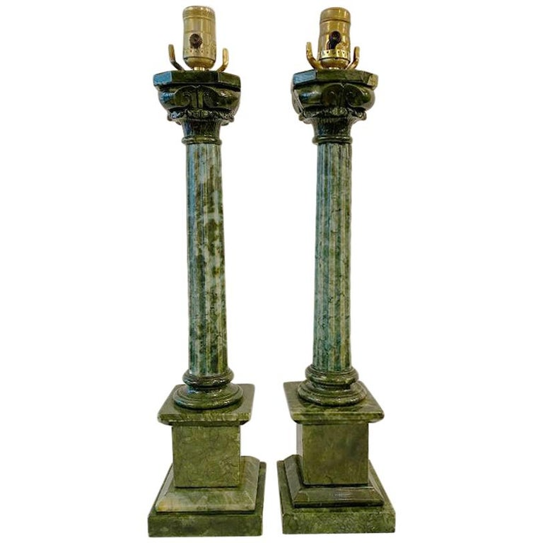Pair of Green Alabaster Table Lamps For Sale